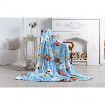 Плед павлинка «мимимишки», размер 150х100 см, цвет голубой, аэрософт