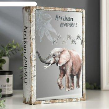 Шкатулка-книга дерево кожзам животные африки зеркало 26х17,5х5 см