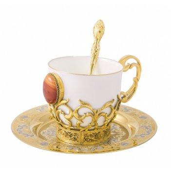 Набор кофейный сердолик литье (тарель d140, чашка, ложка) злат