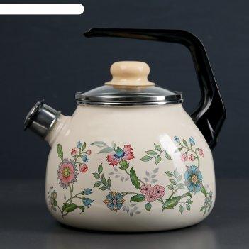 Чайник со свистком 3 л луговые цветы