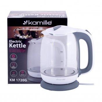 Чайник kamille 1,7л электрический из боросиликатного стекла km-1720g