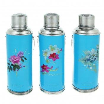 Термос с ручкой цветы, 2 л, 1 кружка, голубой, рисунок микс