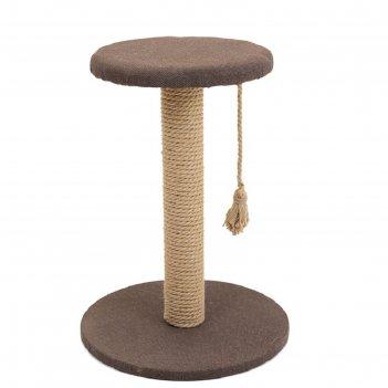 Когтеточка-столбик с полкой кантри круглая, 37 х 37 х 49 см, рогожка, джут