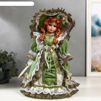 Кукла коллекционная керамика леди джулия в оливковом платье с кружевом 40