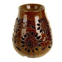Ночник-арома настольный керамика от 220v подсолнух и бабочка 15х12х12 см