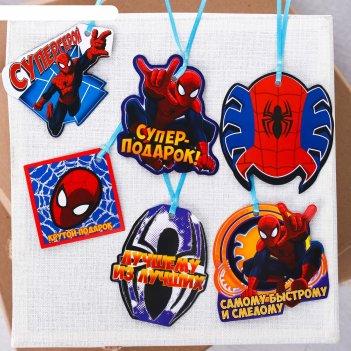 Набор декоративных шильдиков на подарок (6шт )крутой подарок: человек паук