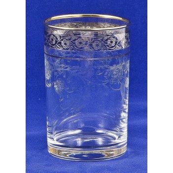 Стакан (стекло) с золотым ободком, отделка нежность арт. ст-02 нежность