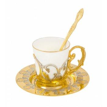 Набор кофейный доброе утро (тарель d 110, чашка, ложка)  злато