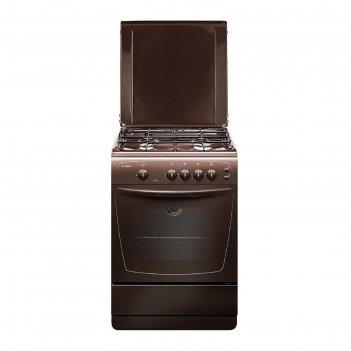 Плита газовая gefest 1200-с6 к19, 4 конфорки, 63 л, газовая духовка, корич