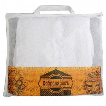 Набор банный махровый добропаровъ белый, (парео женское, чалма на резинке)
