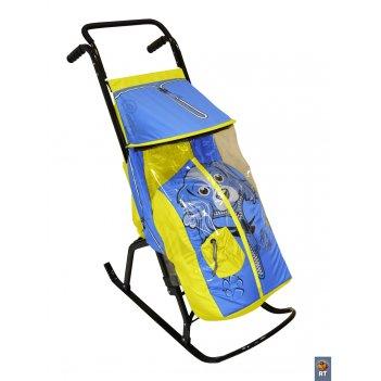 Санки-коляска снегурочка 2-р собачка желто-голубой