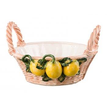 Изделие декоративное корзина с лимонами 28*26 см высота=17 см