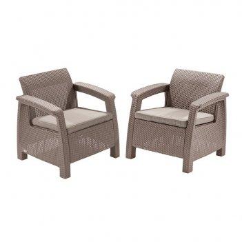 Кресла садовые keter corfu ii duo cappuccino 2 шт