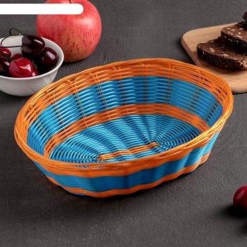 Корзинка для фруктов и хлеба яркое настроение 24х18х7 см, цвет синий