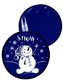 Мт12217 сани-ледянка круглая снеговик цвет синий, 40,5см