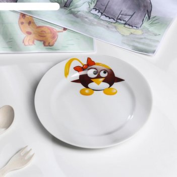 Тарелка мелкая 17 см пингвинчики