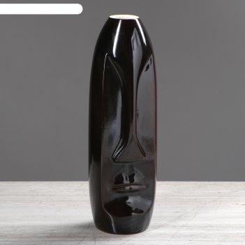 Ваза лицо средняя чёрный  глянец  вид2