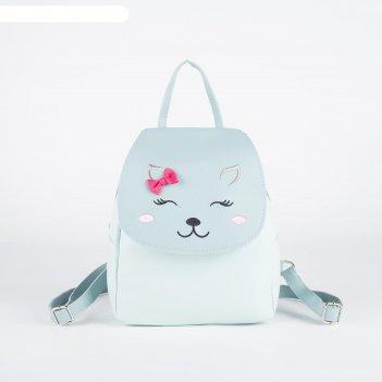 Рюкзак детский «милая кошечка», цвет голубой