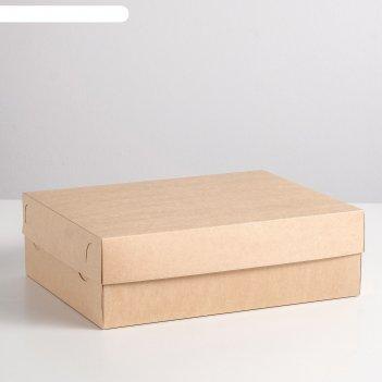 Коробка картонная «крышка/дно на 12 капкейков крафт-оборот без окна», 32 х