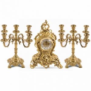 Часы каминные и 2 канделябра на 5 свечей, 3 предм.