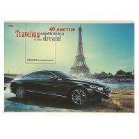 Альбом для рисования а4, 40 листов на скрепке авто и эйфелева башня, облож