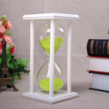 Песочные часы белые с салатовым песком на 60 минут