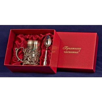 Набор для чая колокольчик (3 пр.) серебро(латунь,покрытие-серебро, картон.