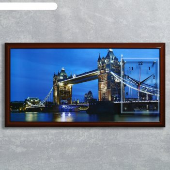 Часы-картина настенные, серия: город, тауэрский мост, 50х100  см, микс