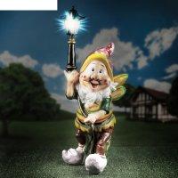 Садовая фигура гном-пожарник с фонарём, 66 см