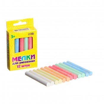 Мелки для рисования, набор 12 шт , 6 цветов, 50 гр