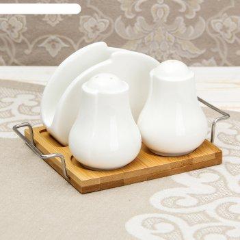 Набор для специй «эстет», 3 шт: солонка, перечница, салфетница