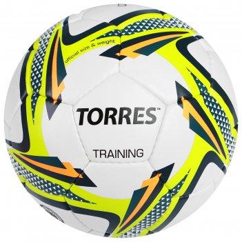 Мяч футбольный torres training р.5, пу, бело-зелено-черный
