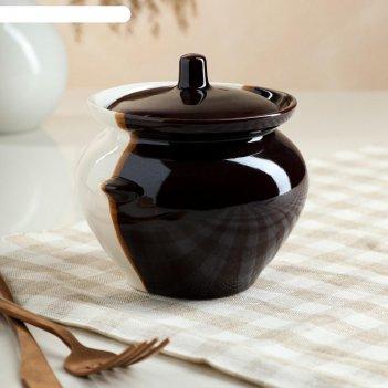 Горшок для запекания 0,45л, бело-коричневый