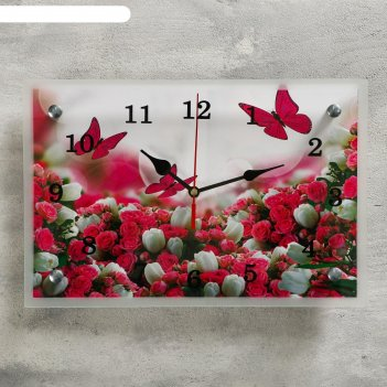 Часы настенные прямоугольные бабочки над цветами, 20х30 см