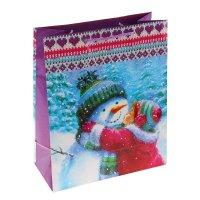 Пакет подарочный снеговик - световик, 32 х 26 х 12 см