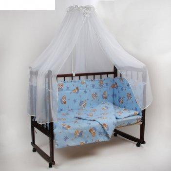Комплект в кроватку 7 предмета за мёдом голубой 10701