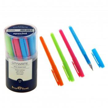 Ручка шариковая citywrite.special стержень синий, узел 1.0мм, 5 цветов мик