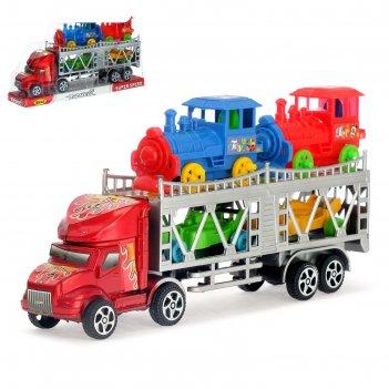 Грузовик инерционный автовоз с 2 машинками и 2 паровозами, цвета микс
