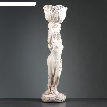 Фигура девушка стоя кашпо на голове средняя состаренное 80см