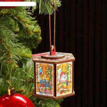 Игрушка на ёлку фонарик, с подсветкой, 7х5,5х6,2 см