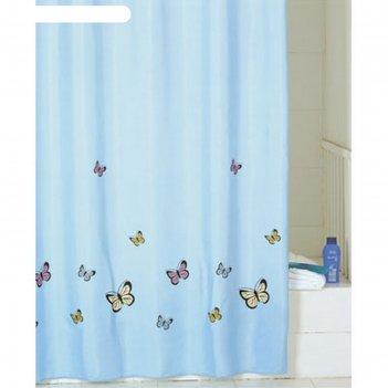 Штора для ванной комнаты 200х200 см blue butterfly