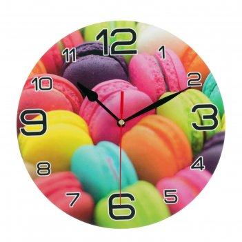 Часы настенные круглые радуга макарун, 24 см