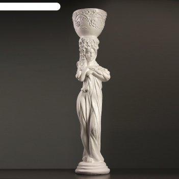 Фигурное кашпо девушка с кашпо стоя с цветами  24х24х104см белый