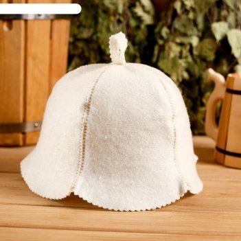 Колпак для бани  шапка кокетка белая