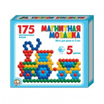 Мозаика магнитная, шестигранная, 175 шт, 5 цветов