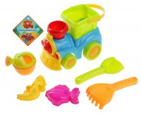 Песочный набор 7 предметов: паровоз, ведерко, грабли, совок, лейка, 2 форм