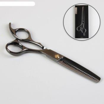 Ножницы филировочные с упором премиум загнут кольцо 6 лезв 6см хром 6 черн
