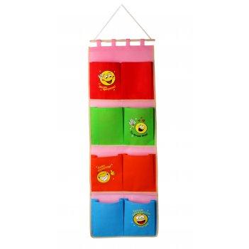 Кармашки на стену смайлики (8 отделений), разноцветные