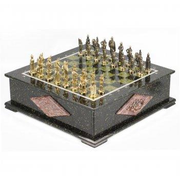 Шахматный ларец фигуры русские змеевик 420х420х130 мм 30 кг