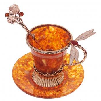 Чашка кофейная стрекоза из янтаря в ювелирной бронзе